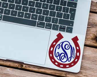 Horse Monogram Decal, Curly Monogram, Horse Decal, Horseshoe Decal, Permanent Decal, Yeti Tumbler Decal, Car Decal, Laptop Decal, Gift