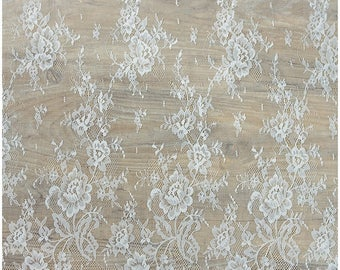 Lingerie Lace, Eyelash wedding lace fabric, Bridal Lace Fabric, Soft, Evening dress Lace, Off-White - Chantilly Flower Lace, (CHF12-W)