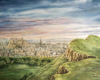 Edinburgh Castle, Sunset from The Crags, Arthur's Seat, Edinburgh