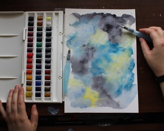 Handmade Blue Grey Original Abstract Watercolor Painting Unframed Art On Watercolor Paper by Allie Bigoness