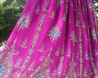 50% SALE Maxi Skirt, Indian Skirt, Long Gypsy Skirt, Bohemian Peasant Skirt, Boho Bollywood Sequined Belly Dance Skirt in Purple