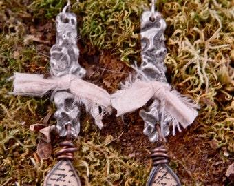 Anne - Romantic Stamped Solder Earrings Silk Charm Boho Sterling Silver Resin Script