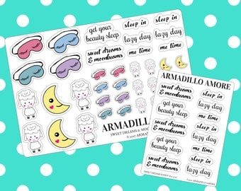 Sweet Dreams and Moonbeams Mini Kit & Script {13+ Fancy Matte or Glossy Planner Stickers, Double Rainbow} | #16-270