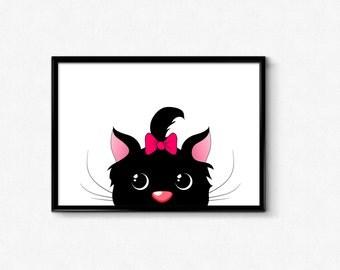 Cat printable art, cat wall art, nursery wall art, cat poster, nursery decor, cat decor, kitten print, nursery printable, girl room print