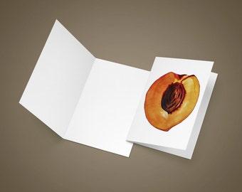 Peach Greeting Card | Blank Greeting Card | Watercolor Greeting Card | Kitchen Art | Food Art | Food Illustration