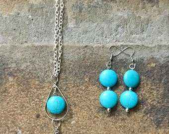 Magnesite and Sterling Silver Necklace and Earrings