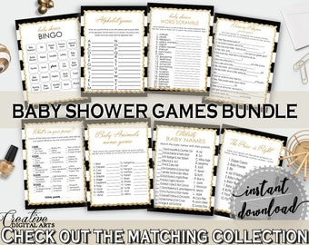 Games, Baby Shower Games, Stripes Baby Shower Games, Baby Shower Stripes Games Black Gold games package, games girl, games deal - bs001