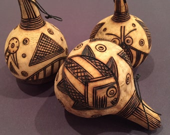 Dried Gourd Shaker Ornaments - Animal Prints and Animal Figures - Maracas Ornaments