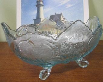 Elegant Blue Ultramarine Four-Footed Oblong Jeannette Lombardi Glass Serving Bowl