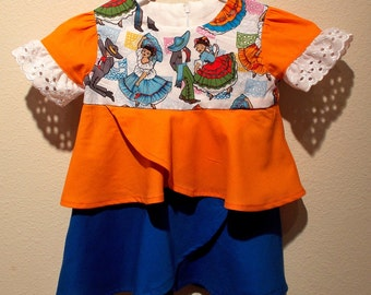 Mexican Folklorico Ballet Print Toddler Dress with Matching Hair Bow