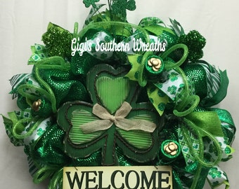 ON SALE!!  St. Patrick's Day Wreath, St. Paddy's Day Welcome Wreath, Shamrock Wreath, St. Paddy's Day 141