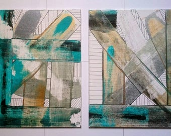 SALE Acrylic Painting Abstract Art Set of 2 Metallic Paintings on Canvas with Freehand Stripes / 10'' x 12'' Set of Two Wall Art
