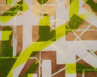 Gold Painting Neon Yellow White Acrylic on Canvas Original Textured Wall Art / Metallic Gold Painting / LittleArtLondon