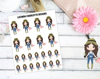 Gardening/Water Plants - Brown Hair Girl Character - Planner Stickers