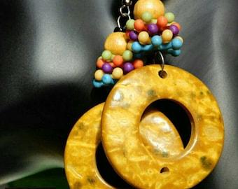 Mustard multicolor wood, bead and plastic earrings
