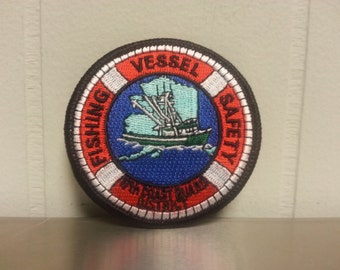 Vintage 80's Alaska Coast Guard Fishing Vessel Safety 17th District Circle Patch Deadliest Catch
