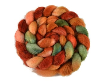 BFL 4 oz hand dyed roving, Combed Top, Blue Faced Leicester spinning fiber, red, green, gold, orange, top for spinning, bfl roving - Harvest