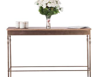 Console Table with Fenial Legs and Rustic Wood Top