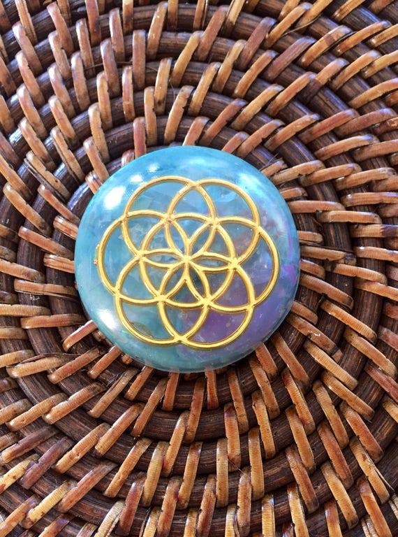 Flower of Life Orgone Energy Tower Buster- Chakra Healing Orgonite® Rubbing Stone- Merkaba Orgonite® for Focus, Clairvoyance & Meditation