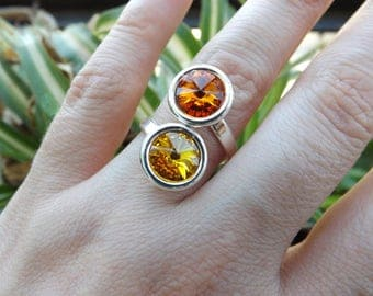 "925 Silver and cabochon ring Swarovski crystal color Trickles ""Sun"" and ""Tangerine"""