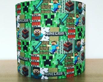 Handmade fabric lampshade, computer / gaming themed