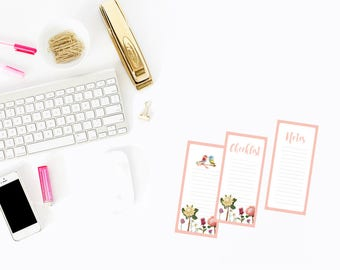 printable to do list,instant download,Printable Checklist,printable notes,stationery,printable planner,Floral Printable Notelets,Pink,Note