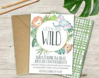 Children's Watercolour Jungle Invitation