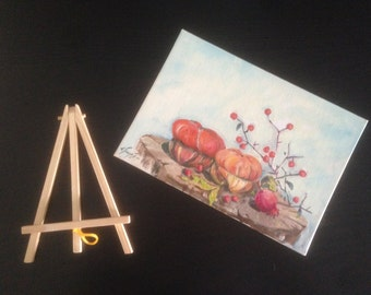 Pomegranates, gift, souvenir, oil painting, canvas with easel,