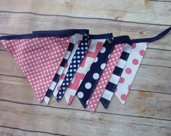 Pink and Navy Blue Banner, Birthday Party Decoration, Bunting, Fabric Banner, Flags, Photography Prop, Garland , Chevron, Dots