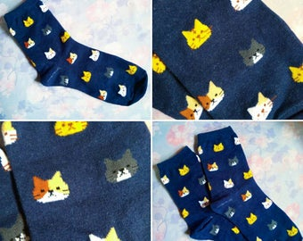 Super Cute Navy Kitty Breeds Socks