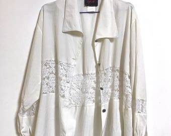 the true romance shirt // Vintage Cream Lace Panel Oversized Slouchy Button Up Shirt