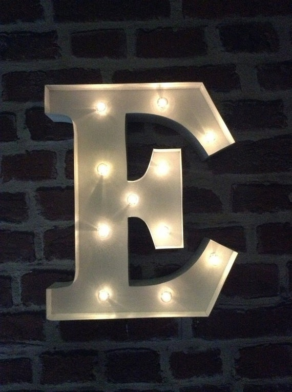 Led Carnival Circus Light Up Alphabet Letter E All Metal