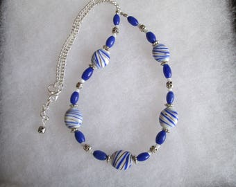 Blue, Brown and White Striped Ceramic and Silver Chain Necklace