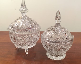 Pair of Vintage Crystal Candy Dishes with Lids