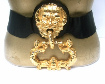 JUDITH LEIBER Massive Gilt Metal Door Knocker Satin Belt
