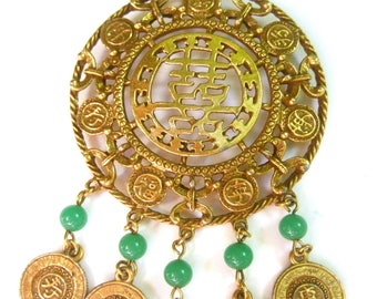 Exotic Asian Theme Gilt Metal Pendant Necklace c 1970s