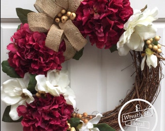 Hydrangea Wreath, Summer Wreath, Magnolia Wreath, Front Door Wreath, Year Round Wreath, Wreath Street Floral, All Occasion Wreath