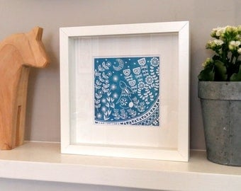 Evelyn Bunny in teal, small framed print, linocut print