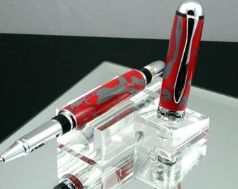 Gift for Him, Gift for Dad, Scarlet & Gray Pen, Red Gray Roller-ball, Black Ink, Schmidt Roller Ball, Acrylic, Red Gray Custom Pen, Cool Pen