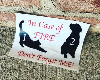 In Case of Fire- Pet Rescue Vinyl Decal