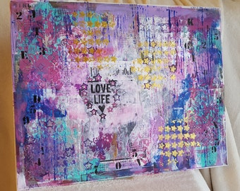 "Wall Art, mixed media collage word art wall hanging, handmade inspiring decor, Christmas or housewarming gift, ""Love Life"" 18 x 24 canvas"