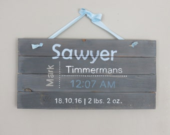 Baby Boy Sign, Baby Girl Sign, Personalized baby sign, Rustic wood baby sign, rustic home decor, Wood sign, Grey