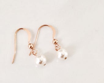 Rose Gold Swarovski Pearl Earrings 14k Rose Gold Filled