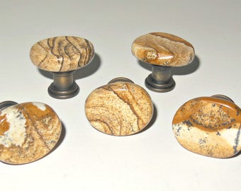 Small Cabinet Knobs – PICTURE JASPER GEMSTONE - Natural Polished Stone Pulls - Home Decor