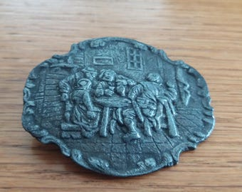 Vintage Dutch Tin Brooch Badge - Work Labour Love - Rembrandt Inspired? Old 30s 40s