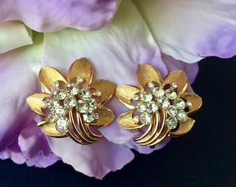 Crown Trifari Signed Vintage Rhinestone Clip Earrings, Gold and Rhinestone Clip Earrings, Crown Trifari Clip Earrings