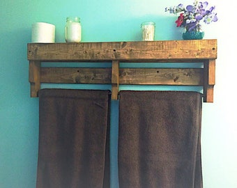 Rustic Towel Rack with Shelf