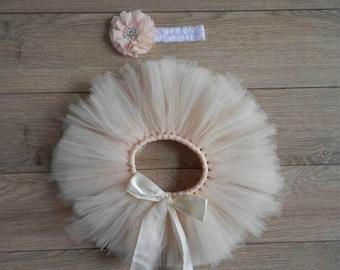 Peach newborn baby tutu with matching headband, baby shower gift, baby gift, photography prop