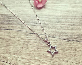 Necklace silver, stainless steel, star, universe, vintage, blogger, statement