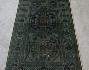 3x6 Basil Green Rug, Distressed Turkish Carpet, Vintage Overdyed Rug